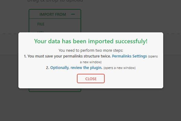 WordPress migration plugin : Fin de l'importation du fichier WordPress