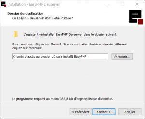 Tuto EasyPHP : Choix du dossier de destination