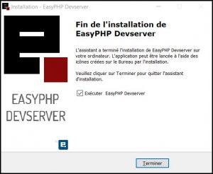 Tutoriel EasyPHP : Installation terminée