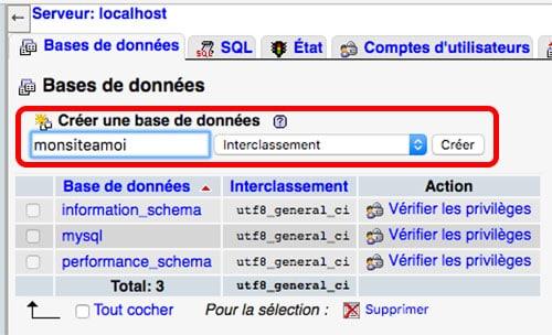 Création d'une base de données avec MAMP