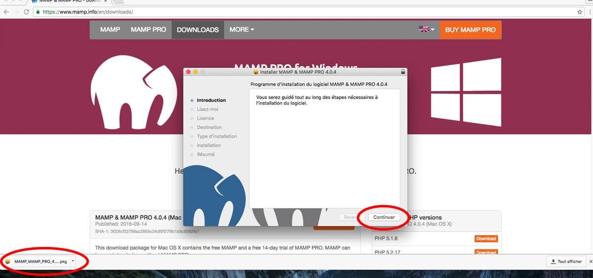 Lancer l'installation de MAMP sur votre Mac