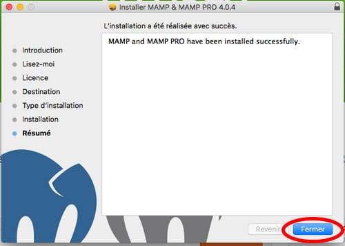 Fin d'installation de MAMP sur Mac
