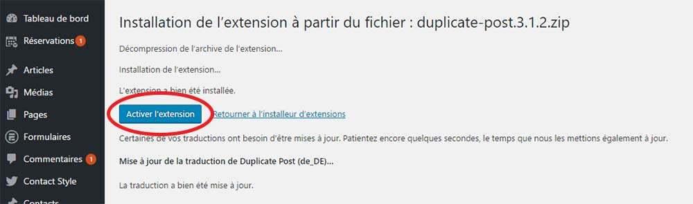 Activer le plugin WordPress .zip