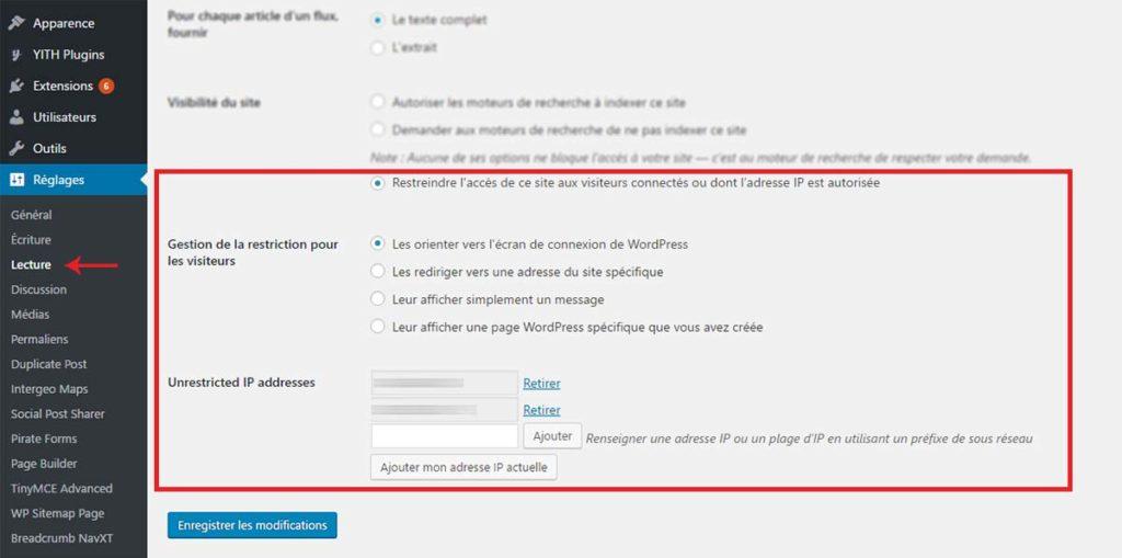 Votre plugin ajoute des fonctions directement dans les réglages de WordPress