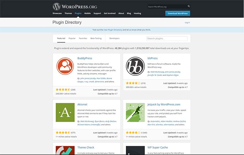 Le répertoire officiel des plugins de WordPress