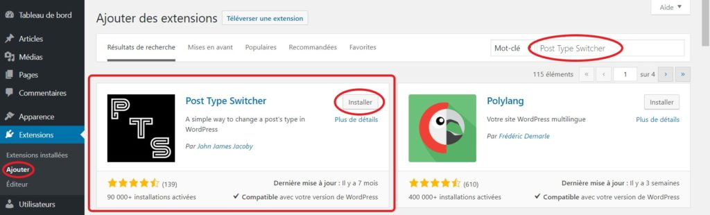 Installation de l'extension « Post Type Switcher »