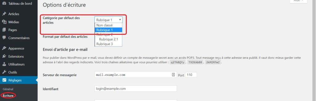 Modifier la catégorie par défaut de WordPress