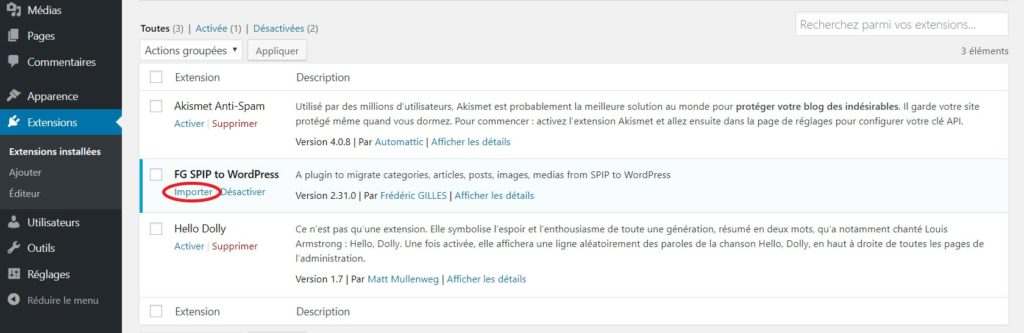 export spip vers wordpress Paramétrer extension « FG SPIP to WordPress »