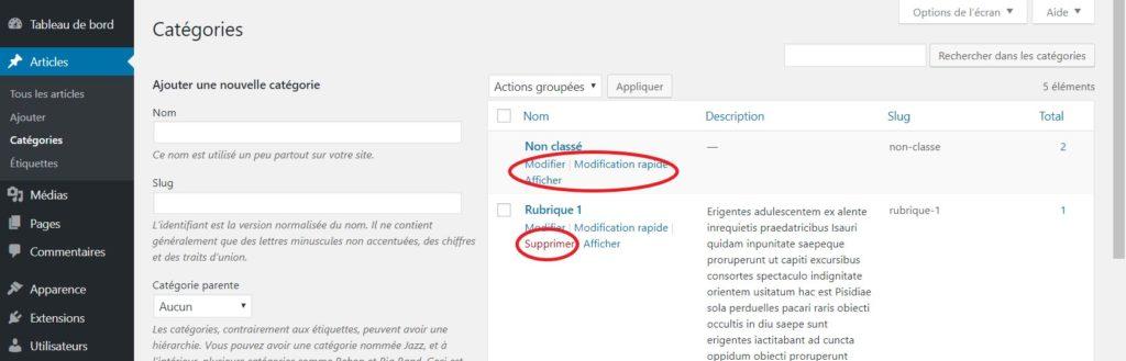 """Supprimer la catégorie """"Non classé"""" de WordPress"""